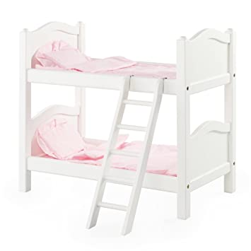 Amazon Com Guidecraft White Wooden Doll Bunk Bed Fits 18
