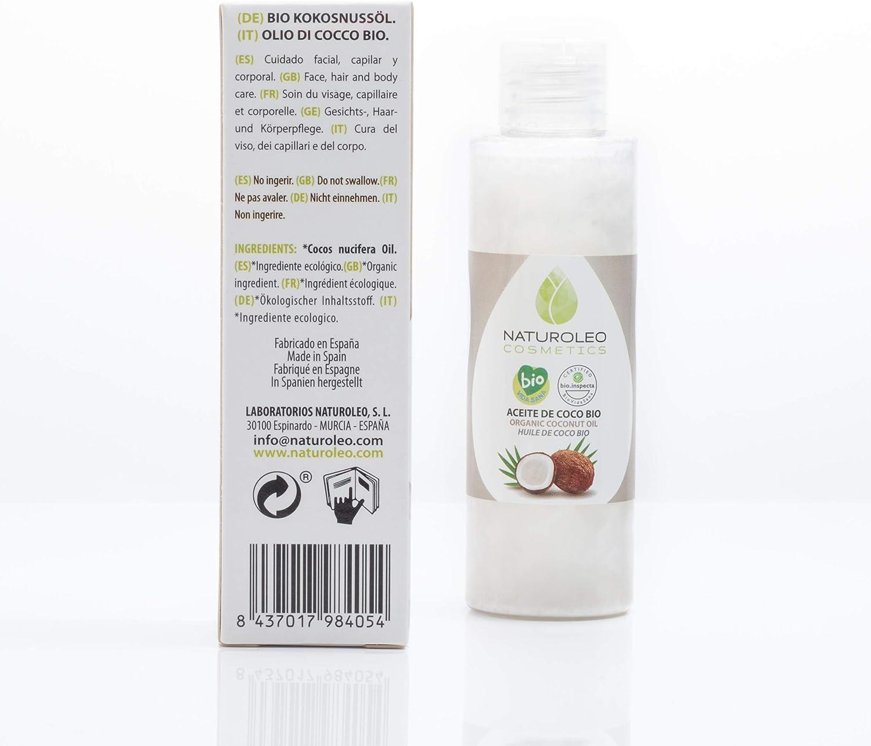 Naturoleo Cosmetics - Aceite de Coco BIO - 100% Puro y Natural Ecológico Certificado: Amazon.es: Belleza