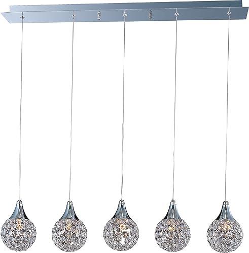 ET2 E24025-20PC Brilliant Modern Crystal Linear Pendant Ceiling Lighting, 5-Light Xenon 200 Watts, 7 H x 7 W x 34 L, Polished Chrome