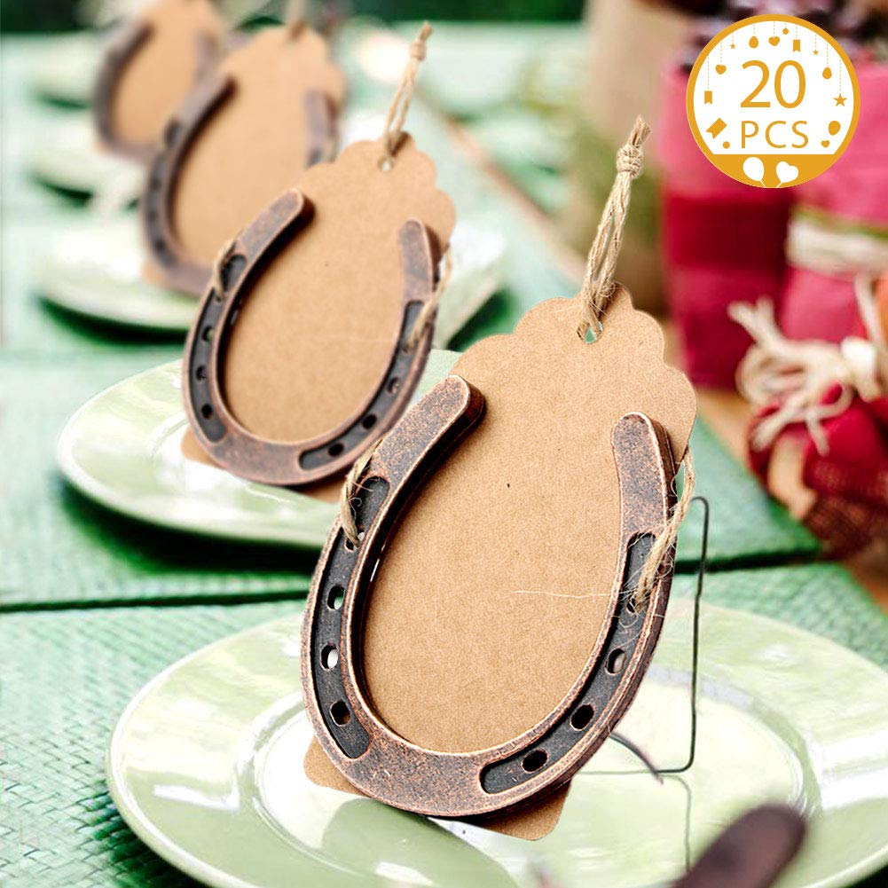 AerWo 20pcs Horse Shoes Favors with Kraft Tag, Metal Mini Horseshoes Decor for Rustic Wedding Decorations Kentucky Derby Party Supplies