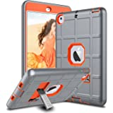 iPad Mini Case, iPad Mini 2 Case, iPad Mini 3 Case, iPad Mini Retina Case, Elegant Choise Heavy Duty Three Layer Armor Defender Protective Case Cover with Kickstand for iPad Mini 1/2/3 (Orange/Grey)