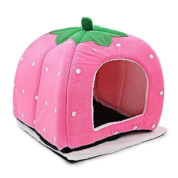 gblife Caseta cerrada del gato Nido cama casa cojín suave y moderno accesorios de animales domésticos fresa punto lavable: Amazon.es: Hogar