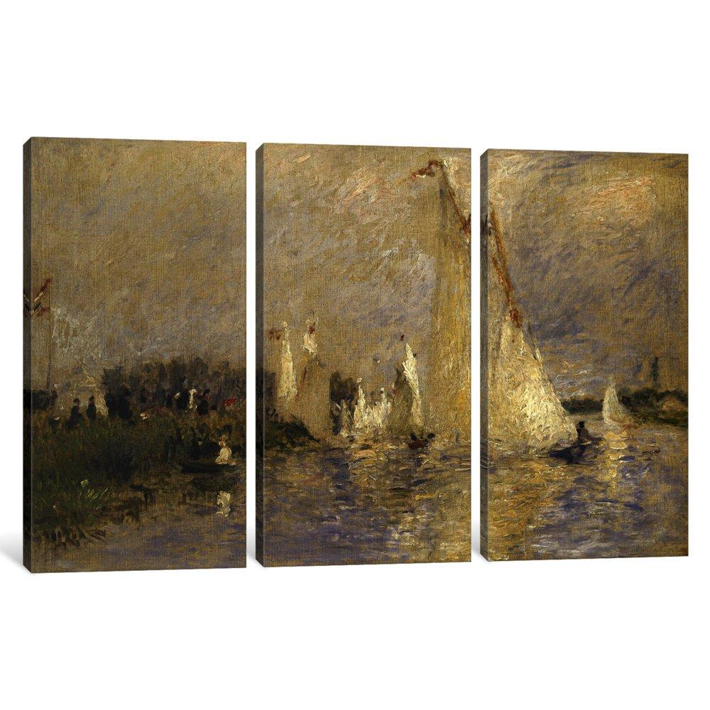 1.5 x 60 x 40-Inch iCanvasART 3-Piece Regatta at Argenteuil 1874 Canvas Print by Pierre-Auguste Renoir
