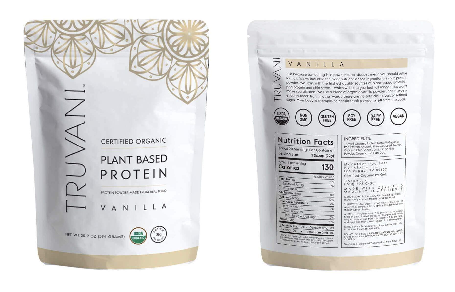 TRUVANI - Plant Based Protein Powder - USDA Certified Organic Protein Powder, Vegan, Non-GMO, Gluten Free Protein Powder   Perfect for Rebuilding & Refuelling Muscles   594 Grams - Vanilla by Truvani (Image #2)
