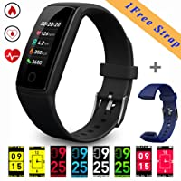 Fitness Trackers (2018 New Design) Smart Bracelet, 0.96inch OLED Colorful Display Activity Tracker Watches with Heart Rate/Blood Pressure/Sleep Monitor Calories Pedometer,Call / SMS Reminder USB Rechargeable 150mAh Battery for Android and iOS