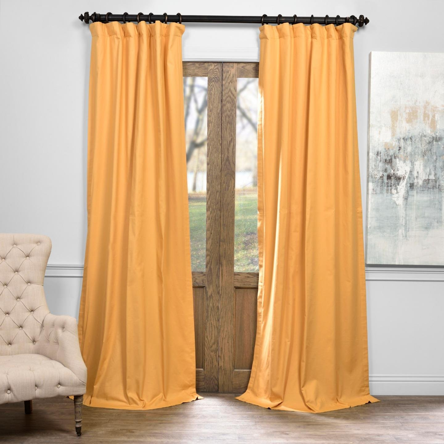 Half Price Drapes PRCT-BO05B-84 Solid Cotton Blackout Curtain, 50 x 84, Spicy Mustard