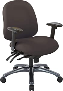 Office Star 8500 Series Multi-Function Mid Back Executive Ergonomic Office Chair with Seat Slider and Titanium Finish Base, Dillon Java Fabric