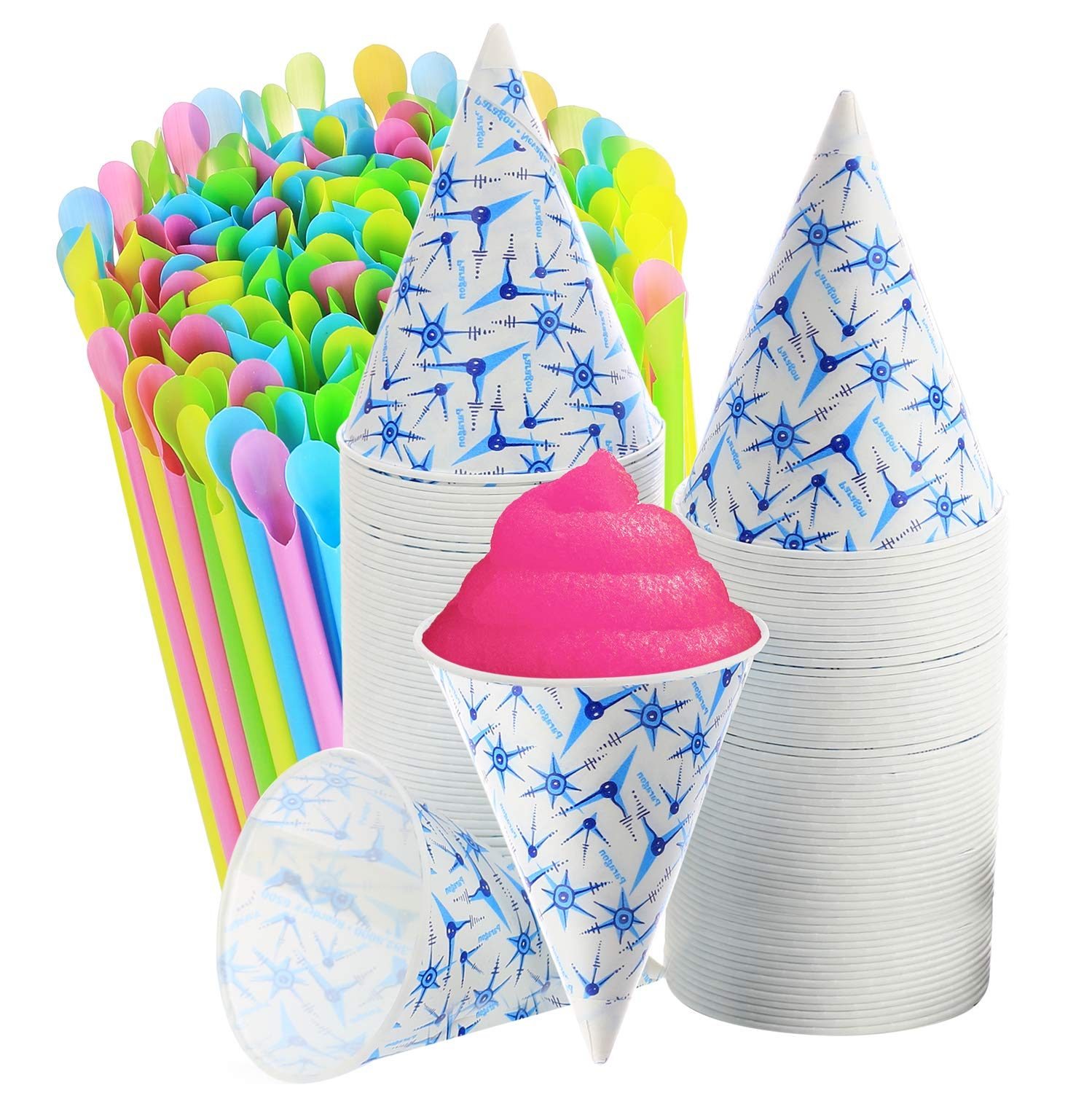 Set of 400-200 Snow Cone Cups 6 Oz, and 200 Sno-Cone Spoon Drinking Straws, Assorted Neon Colors,