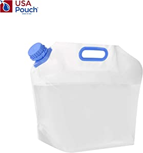 USA Pouch Collapsible Water Container – Heavy Duty, Burst Proof, BPA Free, Freezer Safe Portable Emergency Water Foldable Bag for Travel, Running, Hiking, Camping, Outdoor Sports