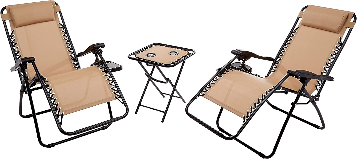 Laguna Home VC009 Zero Gravity Chairs with Side Table Set, Beige