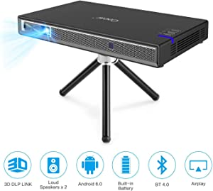 Cocar Mini Projector T5 2020 New Upgrade Android 6.0 Portable Video Projector Built-in Battery 3D DLP-Link 2400-Lumen Louder Speaker WiFi Bluetooth HDMI Support 4K Keystone Correction Black