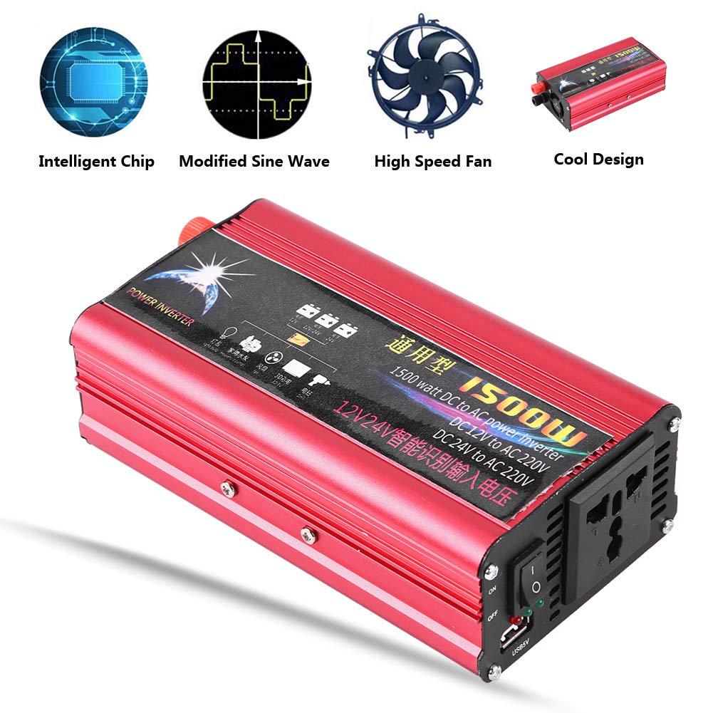 Convertitore Adattatore di Ricarica USB 24V Tensione di Ingresso di Identificazione Intelligente a Onda di Correzione 220V Qiilu Inverter per Auto 1500W 12V