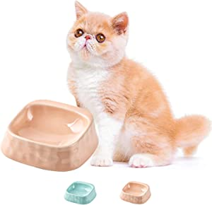 Ceramic Cat Food Bowls:Whisker Stress Free Basic Dog Cat Bowls,Wide Cat Dish,Non-Slip Cat Dog Feeding Bowls,Shallow Cat Feeding&Watering Supplies