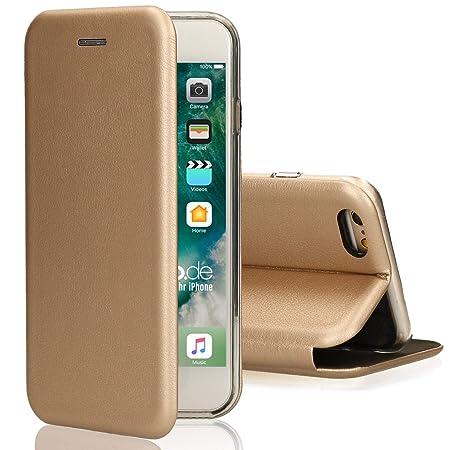 Ray Oklay [kompatibel für iPhone 5 / 5s / SE] Flip-Case Hülle [Deluxe Leder Case] Handyhülle mit Magnetverschluss und Standfu