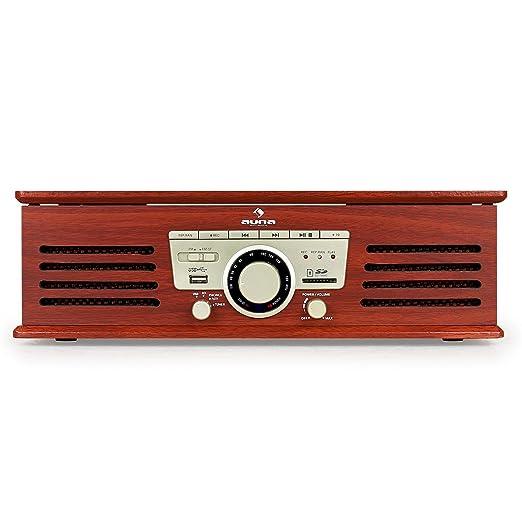 auna TT-92W - Tocadiscos , Reproductor de vinilos , Altavoces estéreo Integrados , Puerto USB , reproducción y grabación en Formato MP3 , Ranura de ...
