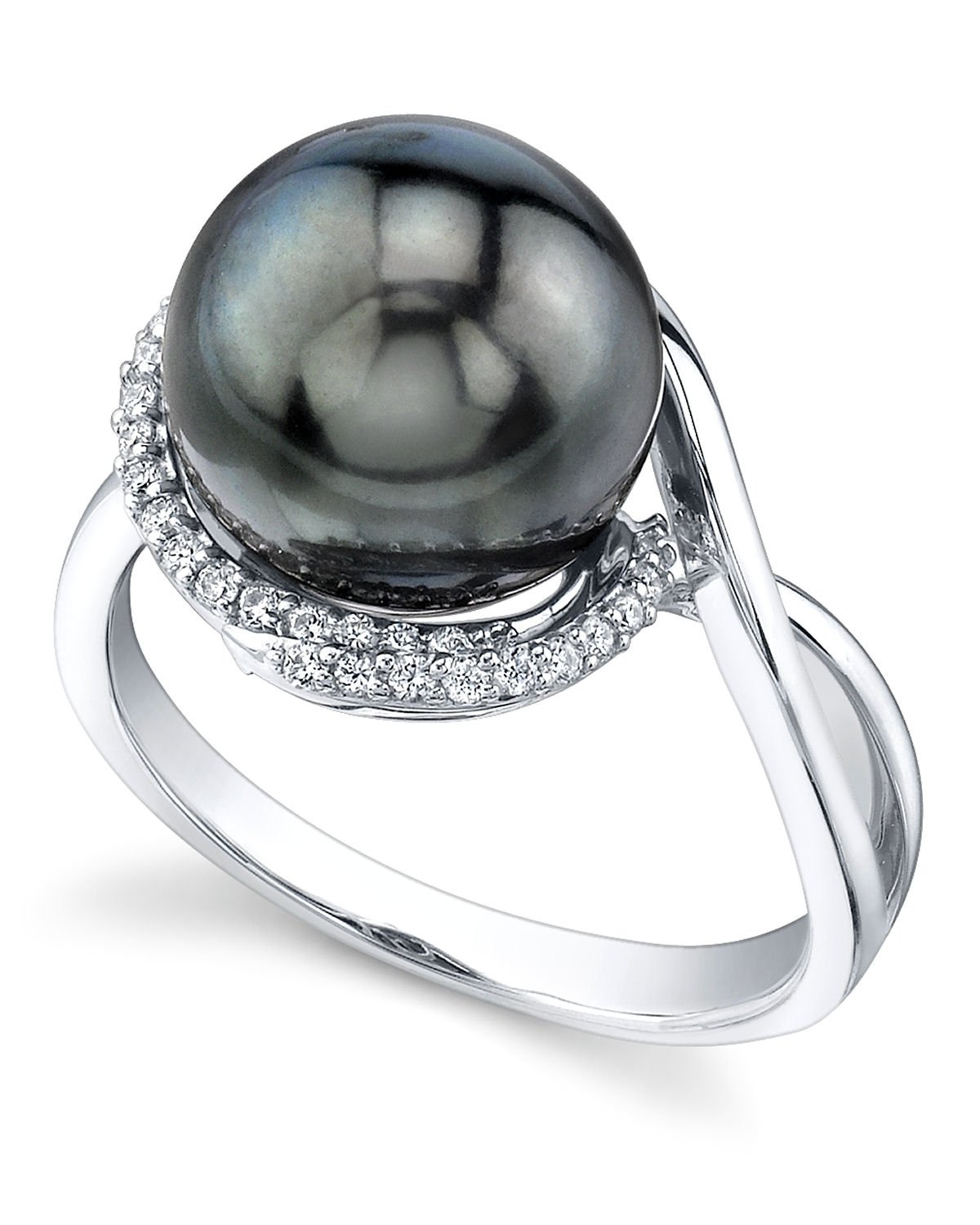10mm Tahitian South Sea Cultured Pearl & Diamond Summer Ring in 14K Gold