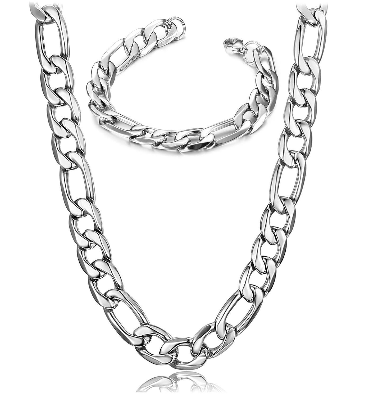 BE STEEL Schmuck 12 MM Edelstahl Halskette für Herren und Damen Armbänder Halskette Set Figaro Kette 56 CM Armband 21 CM BESTEEL N020VB