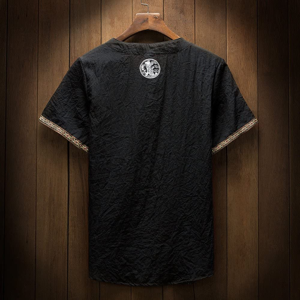 Hellosay Mens Summer Classic Floral Shirt Tang Short Sleeve Linen T Shirt