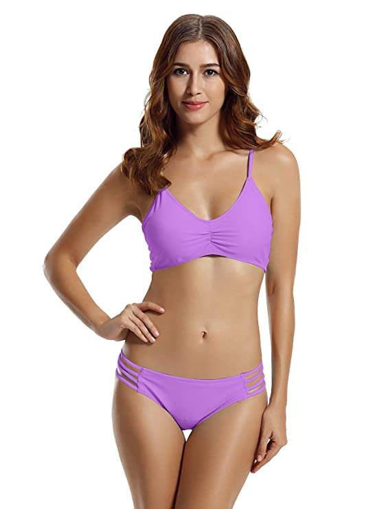 zeraca Women's Strap Side Bottom Halter Racerback Bikini Bathing Suits (FBA) (Medium/10, 12 Tribal Eeo)