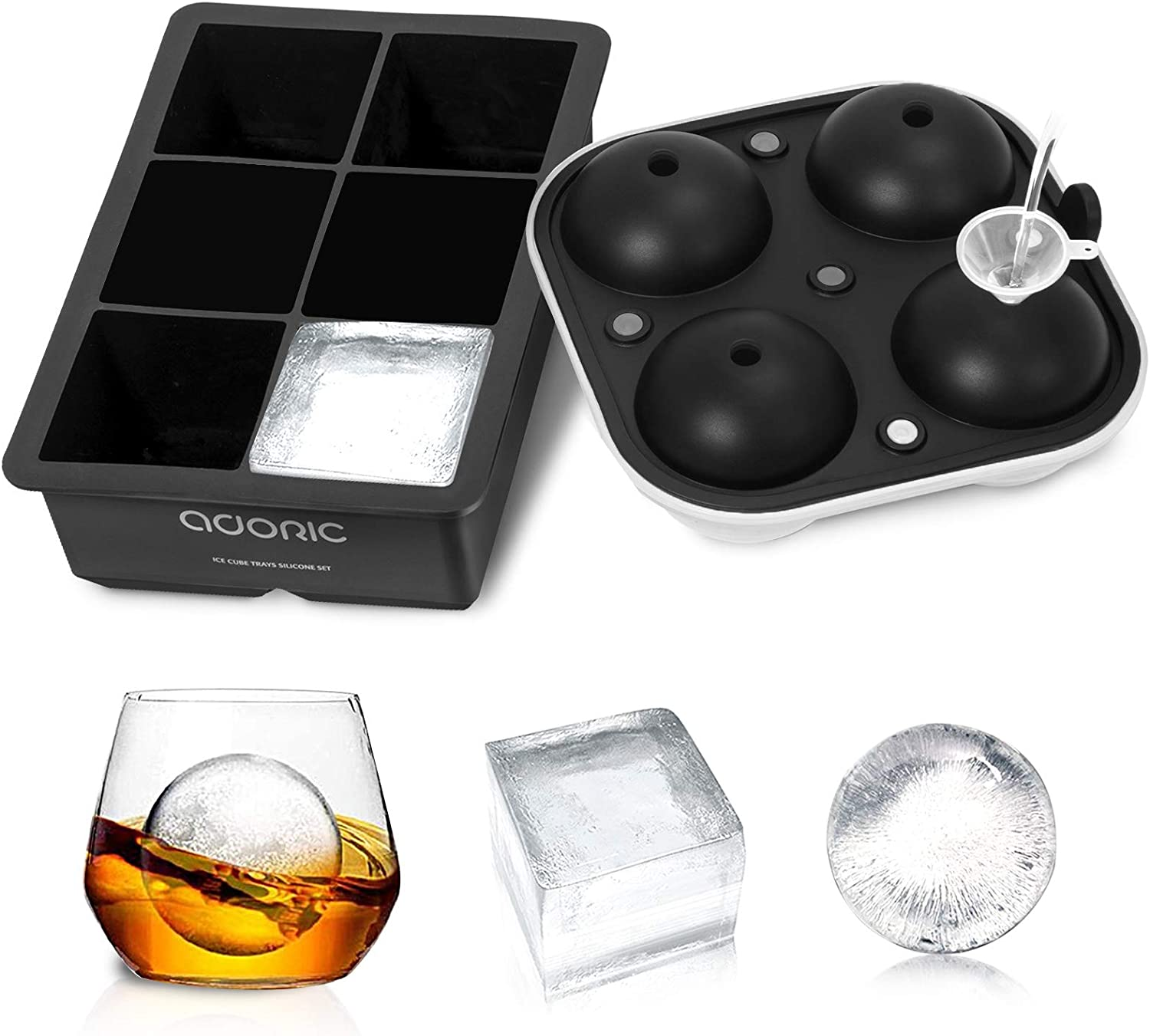 Ice Cube Trays, Adoric Life Ice Tray Silicone Set of 2 with Funnel, Sphere Ice Ball Maker and Large Square Ice Cube Molds for Whiskey, Reusable and BPA Free