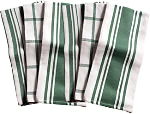 KAF Home Kitchen Towels, Set of 6, Forest & White, 100% Cotton, Machine Washable, Ultra Absorbent