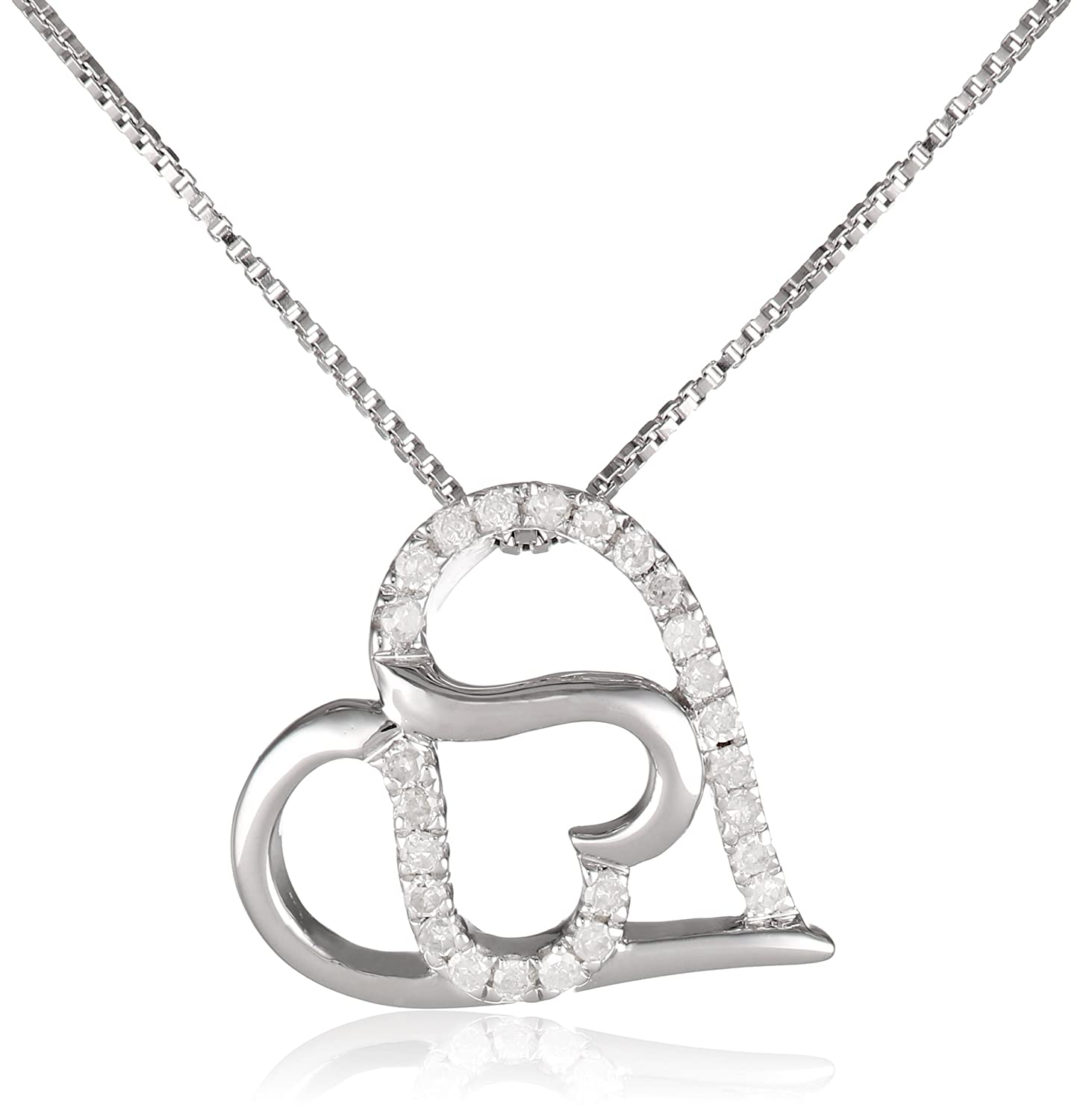 Sterling Silver and Diamond Double-Heart Pendant Necklace (1/10 cttw, H-I Color, I2-I3 Clarity)