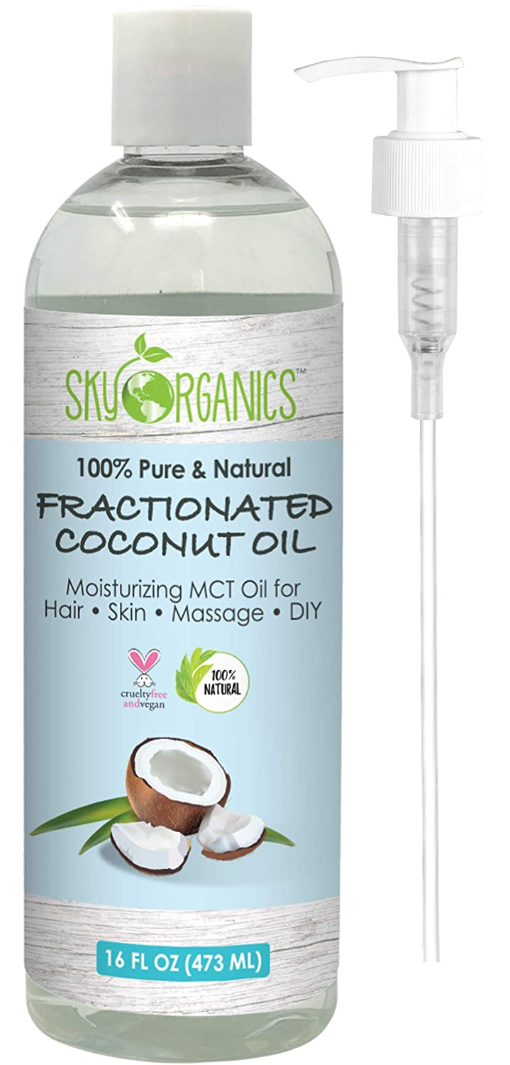 Fractionated Coconut Oil by Sky Organics 100% Pure MCT Oil (Cocos Nucifera) with Pump. Ideal as a Massage Oil & Aromatherapy. Carrier Oil Made in USA. No Staining Tanning Oil, 16 oz (Pack of 1)
