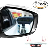 Upgrade Square-Shape Blind Spot Mirrors,EMIUP 360° Adjustable Convex Mirror Frameless HD Wide Angle Mirrors Rear View Mirror Universal For Car SUV,Truck,Motorcycle-2Pack