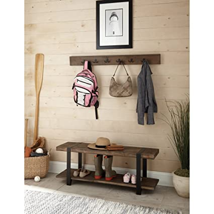 Amazon Alaterre Modesto Metal And Reclaimed Wood Wall Coat Hook Interesting Wooden Coat Rack With Bench