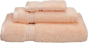 SUPERIOR 3-Piece Towel Set, Long-Staple Combed Cotton, Peach