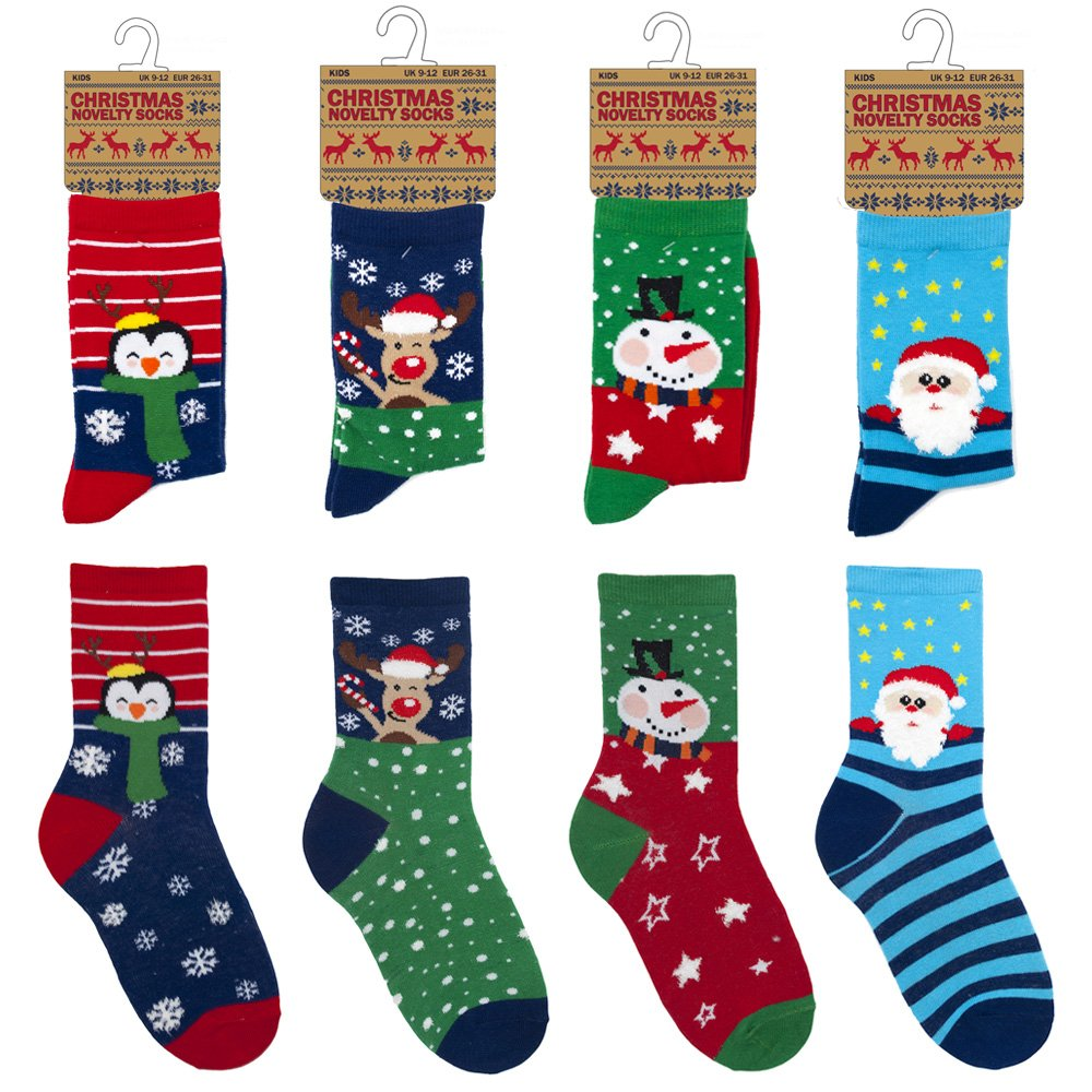 Kids / Childrens 4 Pack Colourful Fun Cotton Rich Novelty Xmas ...