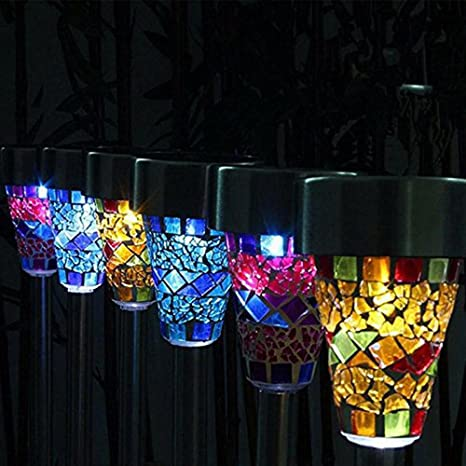 EONSMN Solar Garden Light, 6 Pack Mosaic Landscape Lamp Post Lighting For  Outdoor Patio Walkway