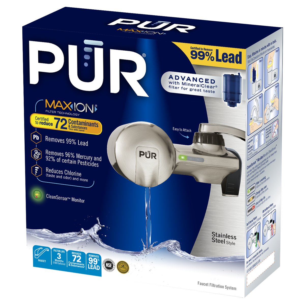 PUR PFM450S Stainless Steel Style Horizontal FM with1 MineralClear Filter