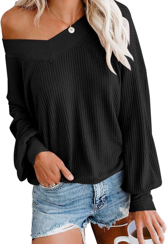 Odosalii - Jersey de punto para mujer, cuello en V, sin hombros, manga larga, jersey de punto grande