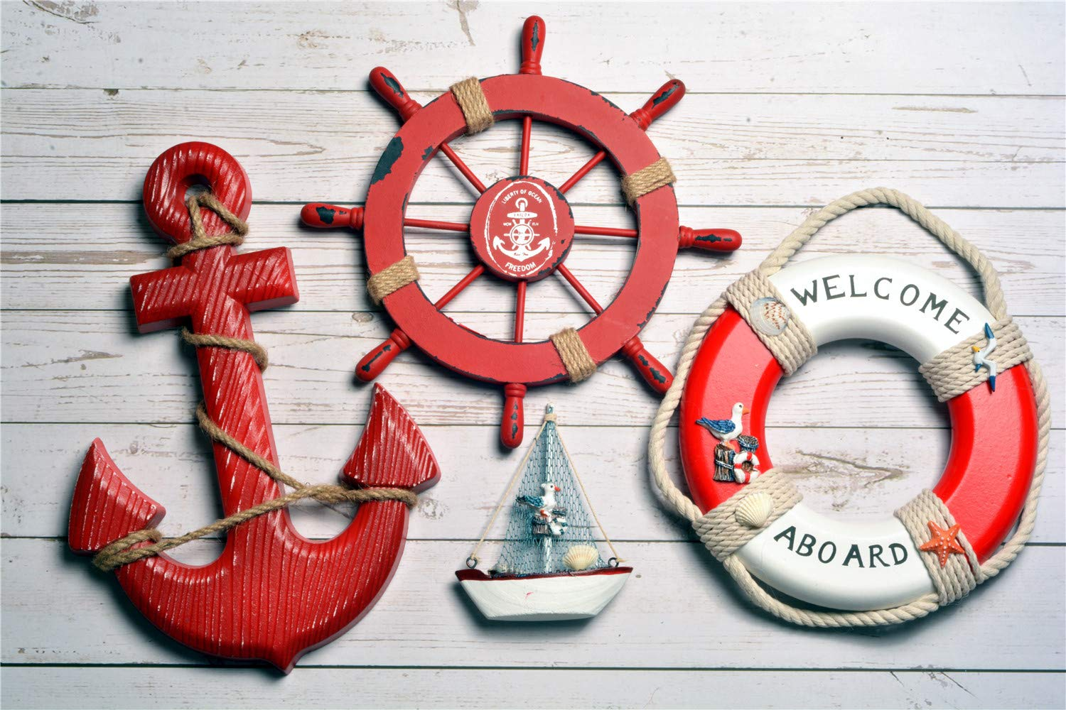 """Wooden Nautical Lighthouse Anchor Wall Hanging Ornament 12.6""""x8.7 