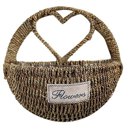 Finebaby Decorative Woven Willow Storage Basket Wall Hanging Vine Basket  Countryside Primitive Vintage Style Plant Vase