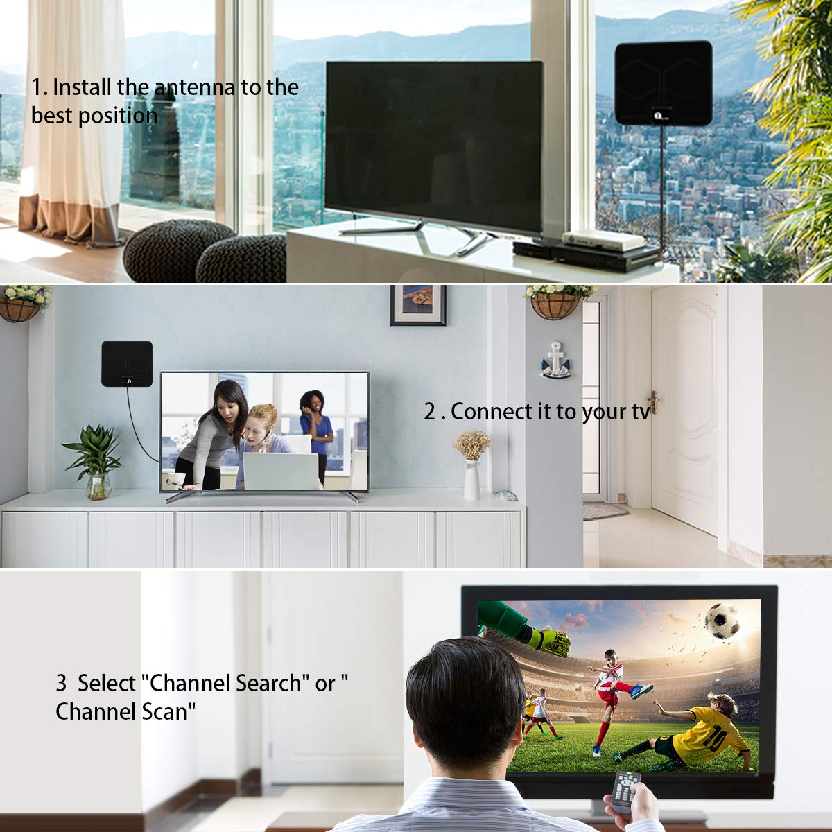 Indoor Digital TV Aerial HDTV Antenna with Excellent Performance for Digital Freeview and Analog TV Signals 1byone Freeview TV Aerial with Stand Black