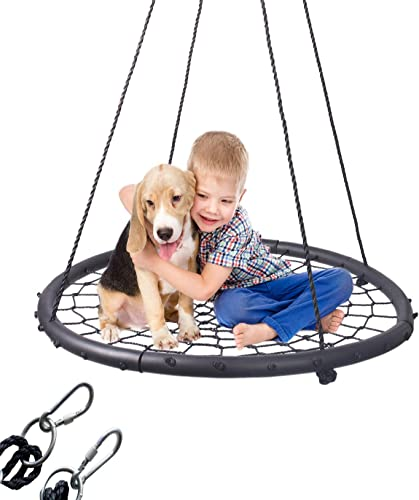 LaTazas Extra Large 40 Diameter Kids Web Net Swing Height Adjustable, Easy Installation Tree Swing Set for Playground Outdoor, Including 2 Carabiners Free