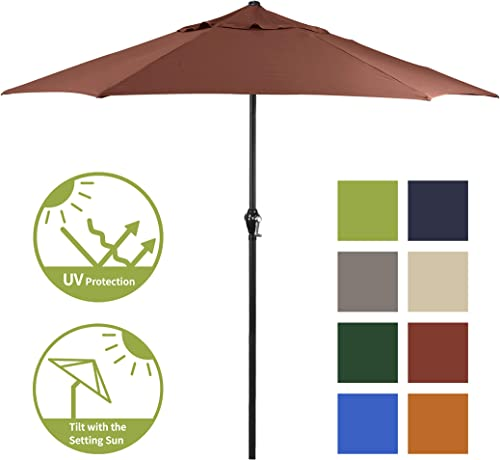 Shade Basics 9' Rd Crank Open Tilting Steel Patio Umbrella
