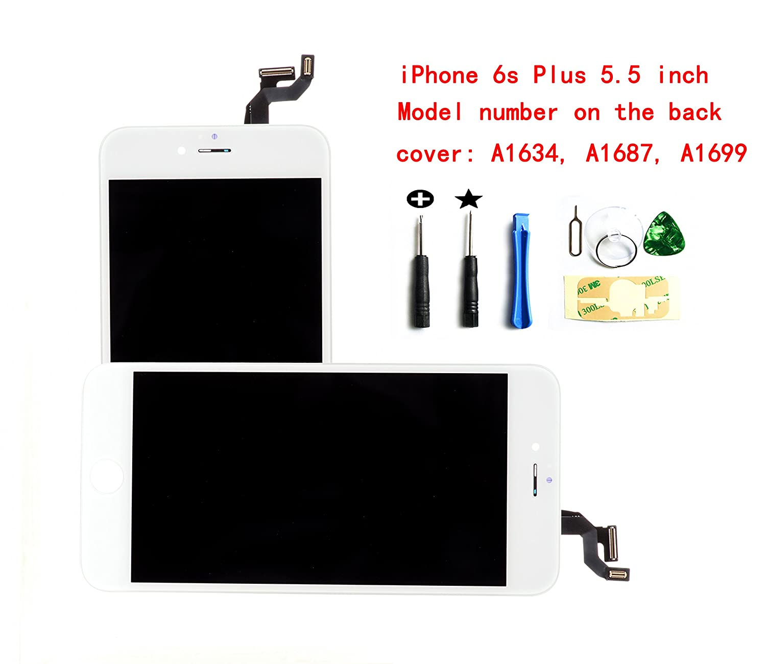 White Iphone 6 plus 5.5 inch LCD screen replacement Full digitizer Assembly Frame set Front Glass Display with required tool kit select us