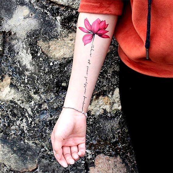 Tatuajes temporales de flores de loto rosa para hombre y mujer ...