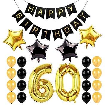 Zzm 60 Old Geburtstag Dekorationen Set Happy Birthday Banner Gold