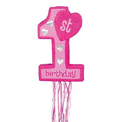 Pink 1st Birthday Pull String Pinata: Sports & Outdoors