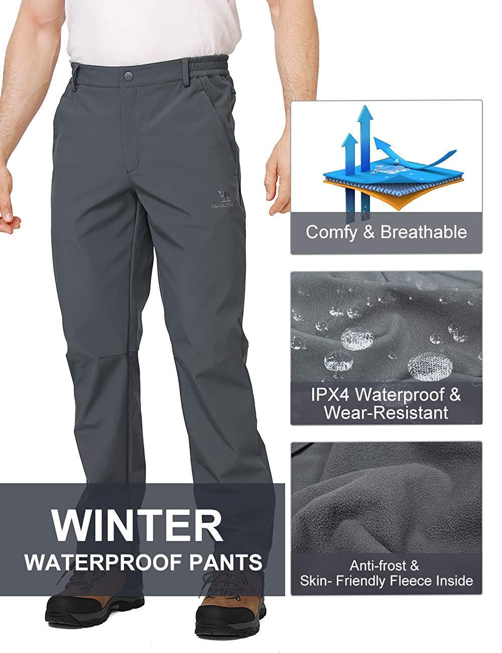 CAMEL CROWN Pantalones Softshell para Hombre Polar Fleece Forrado Impermeable A Prueba De Viento Pantalones de Invierno Pantalones para Trekking Senderismo Esqui Snowboard Deportivos con Bolsillo