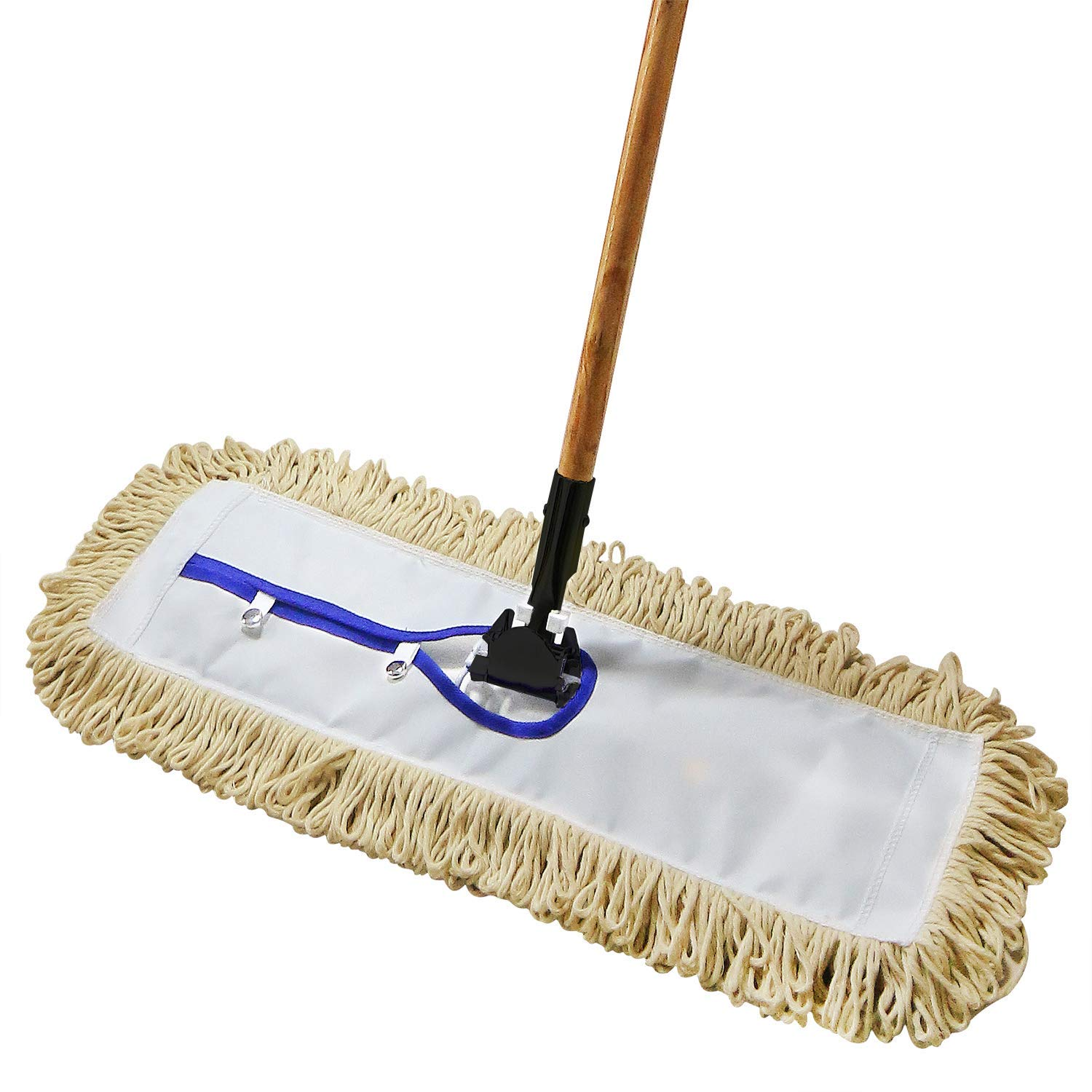 24'' Industrial Strength Loop-End Cotton Dust Mop with 56'' Long Wood Handle and Metal Frame, Best Value for Wet and Dry Mopping on Hardwood, Laminate, Concrete Floor Thick Tufted Mop Head by Tidy Monster