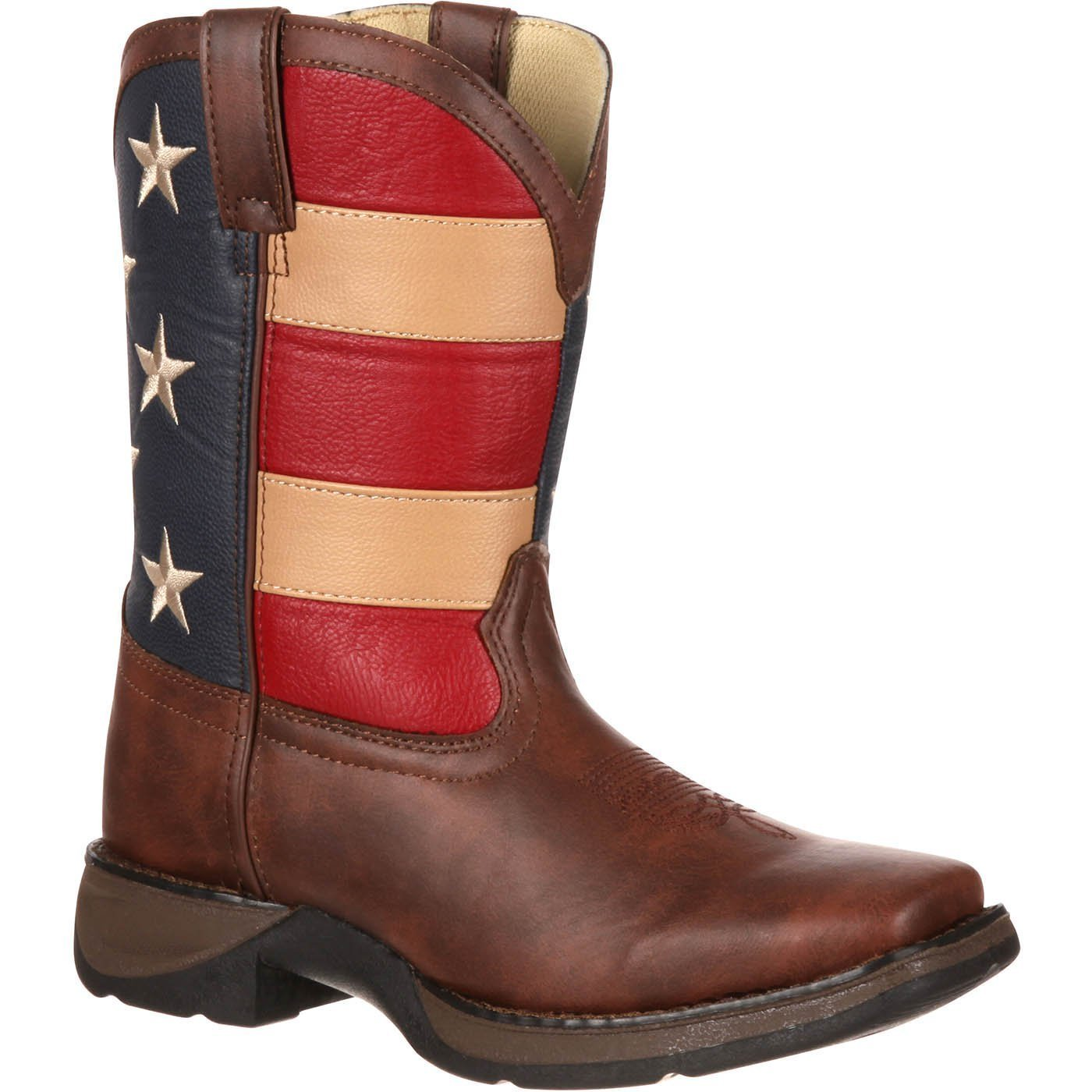 Durango Kids BT245 Lil' 8 Inch Patriotic,Brown/Union Flag,9 Toddler