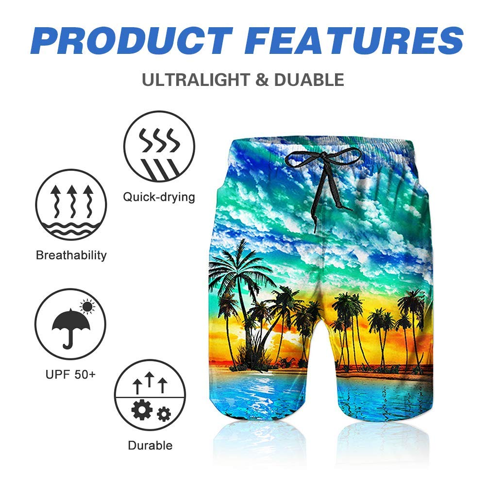 Mens Puffin Drawing 3D Swim Trunks Quick Dry Summer Underwear Surf Beach Shorts Elastic Waist with Pocket Drawstring