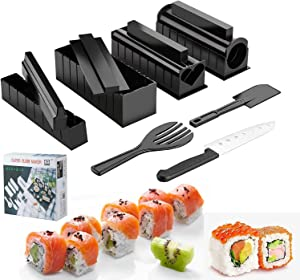 Sushi Making Kit, 13 Pcs All In One Sushi Maker Tools with Multiple Shapes Rice Mold & Sushi Knife, Easy Using Complete Sushi Set for Beginners and Professional DIY at Home, Red (Black-13 Pcs)