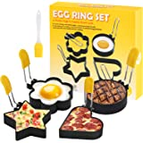 CHENSIVE egg ring 4-Piece stainless steel omelette molds,Cake making molds,Baking fixed molds Egg Mcmuffin Sandwiches Egg rin