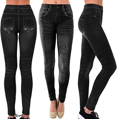 Fashion Women/'s Jeggings Leggings Blue Jeans Look Printed Stretchy Pants